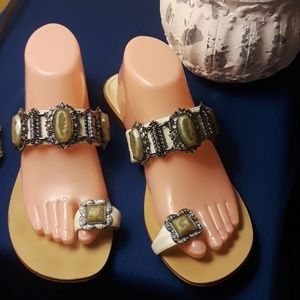 BCBGENERATION WHITE embellished sandles.